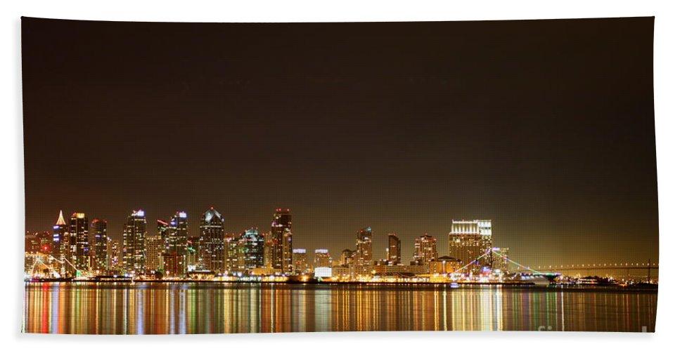san Diego Hand Towel featuring the photograph San Diego Skyline Night by Henrik Lehnerer