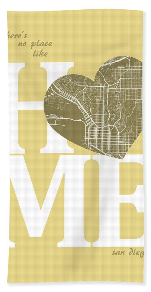 Road Map Bath Sheet featuring the digital art San Diego Street Map Home Heart - San Diego California Road Map by Jurq Studio