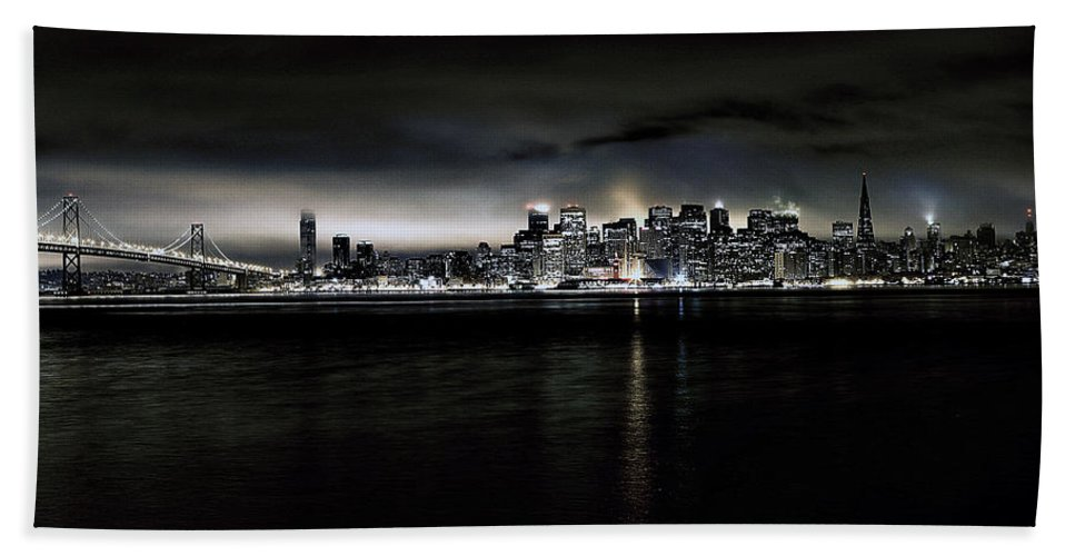 City By The Bay Hand Towel featuring the photograph Across The Bay Version A by Digital Kulprits