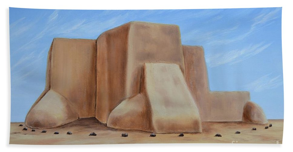 Mission Bath Sheet featuring the painting San Francisco De Asis by Mary Rogers