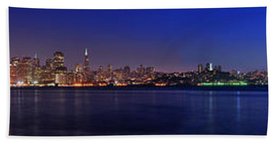 San Francisco Bath Sheet featuring the photograph San Francisco Dusk Panorama by Jason Chu