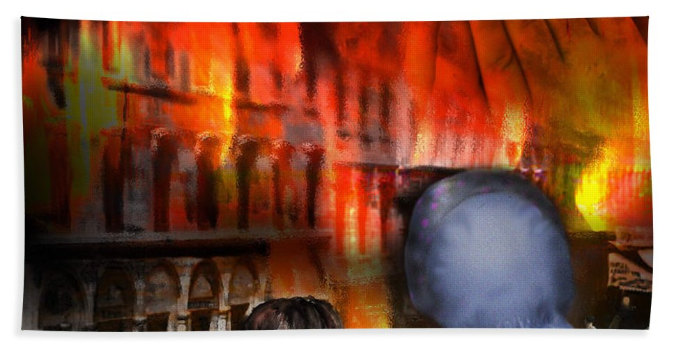 Fire Bath Sheet featuring the digital art San Francisco Fire by Lisa Redfern