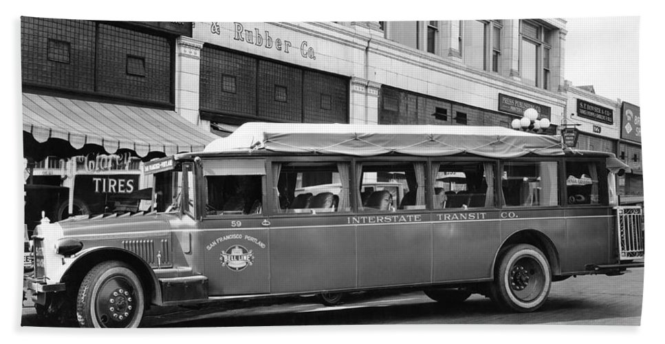 1922 Hand Towel featuring the photograph San Francisco To Portland Bus by Keystone Photo Service