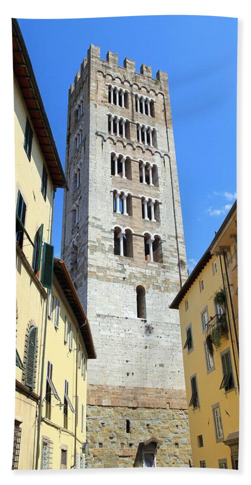 Lucca Bath Sheet featuring the photograph San Frediano Tower by Valentino Visentini