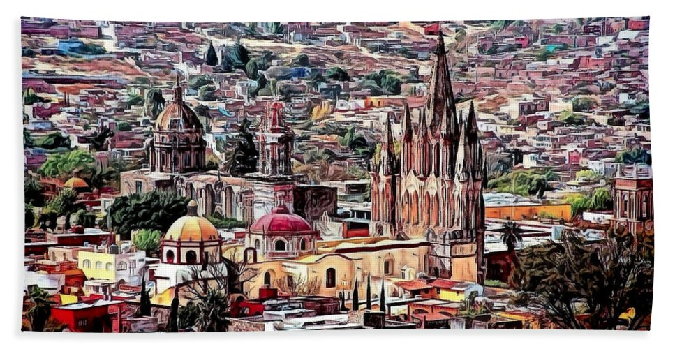 San Miguel De Allende Hand Towel featuring the photograph San Miguel De Allende by Claude LeTien