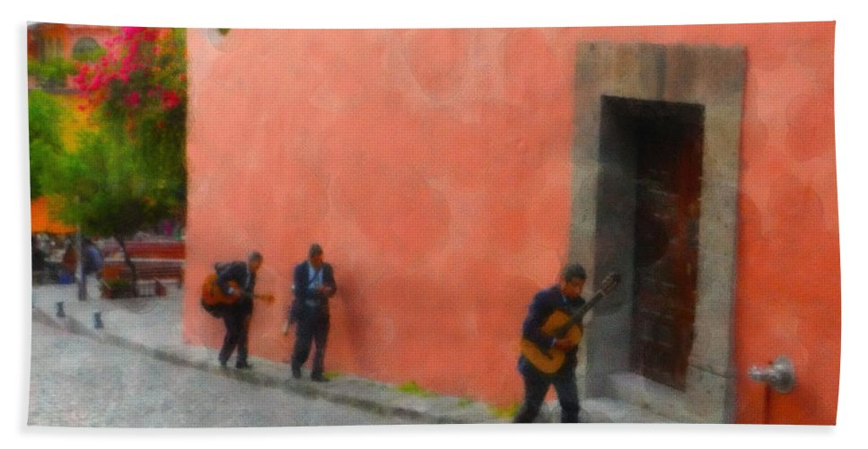 Bath Sheet featuring the digital art San Miguel De Allende Mexico Streets by Cathy Anderson