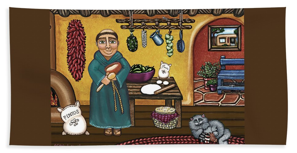 San Pascual Hand Towel featuring the painting San Pascuals Kitchen by Victoria Jones