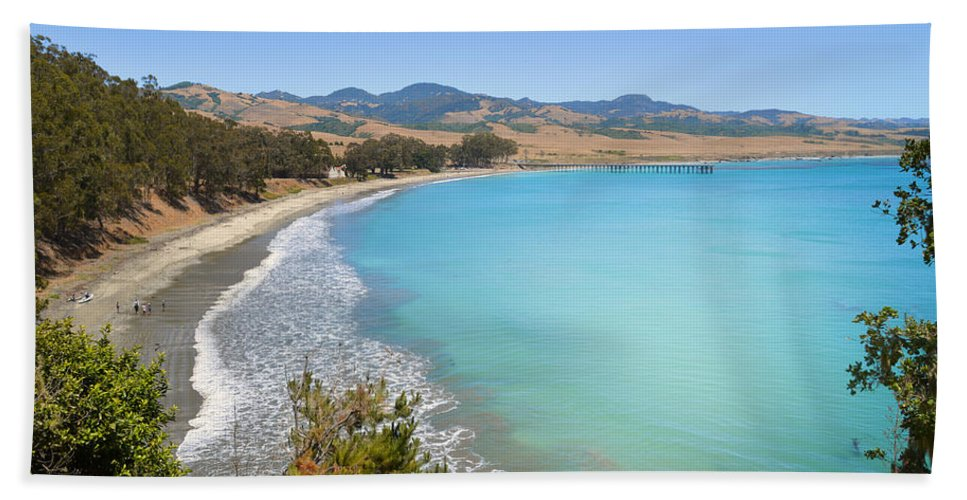 Blue Bath Sheet featuring the photograph San Simeon Bay by Lynn Bauer