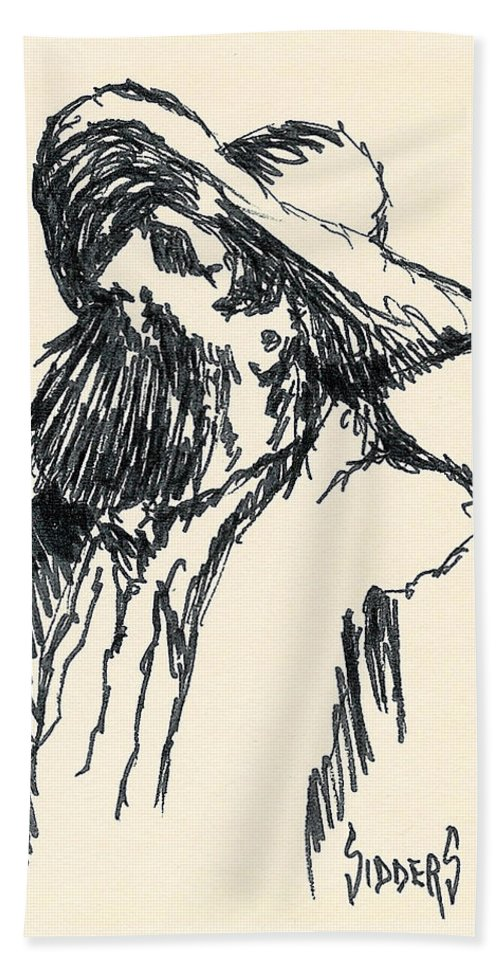 Hat Hand Towel featuring the drawing Sancho by Sam Sidders
