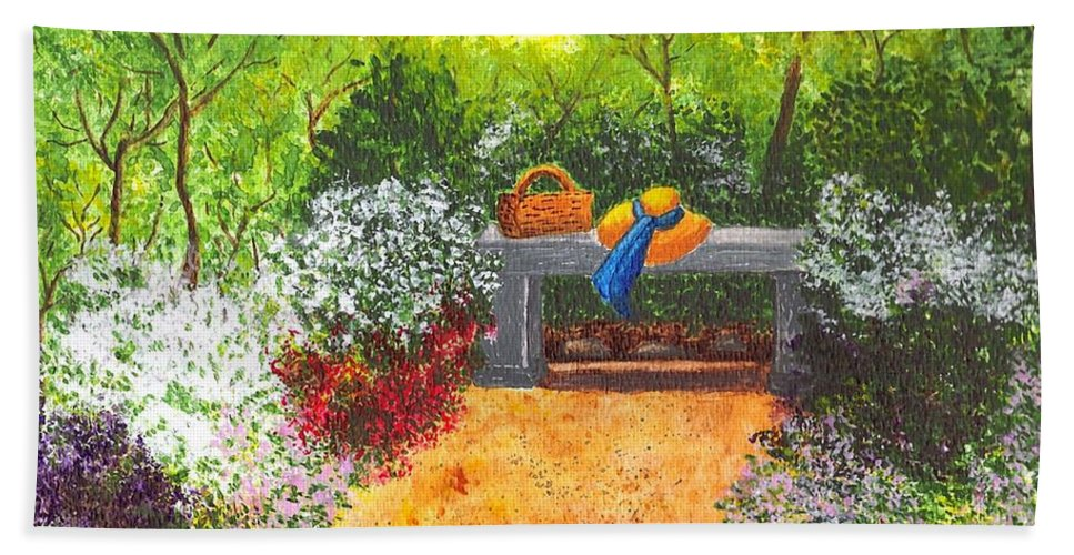 Garden Painting Bath Towel featuring the painting Sanctuary by Patricia Griffin Brett