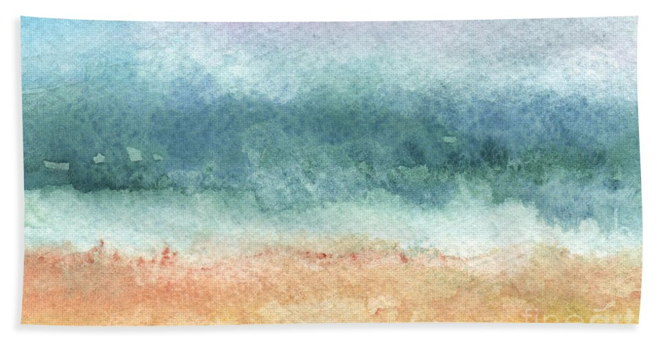 Abstract Hand Towel featuring the painting Sand and Sea by Linda Woods
