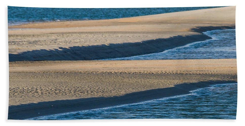 Abstract Bath Sheet featuring the photograph Sand And Water Textures Abstract by Ed Gleichman