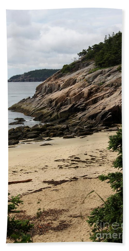 Rocky Coast Hand Towel featuring the photograph Sand Beach Acadia Park by Christiane Schulze Art And Photography