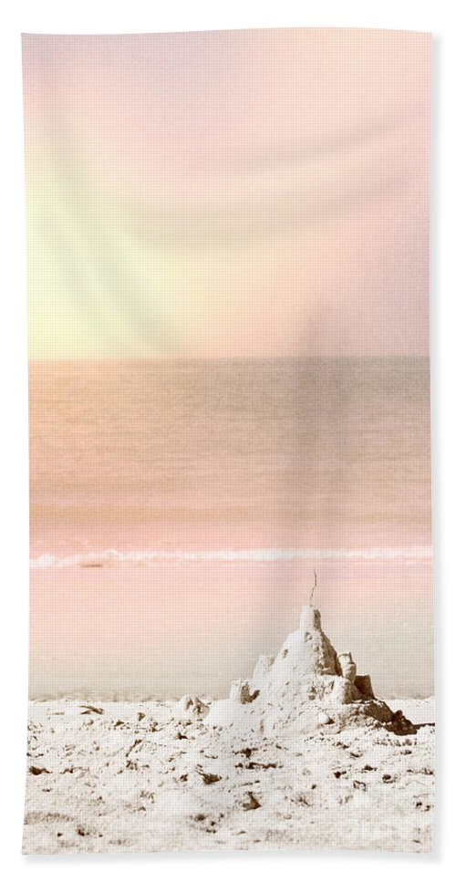Beach; Water; Gulf; Ocean; Sand Castle; Castle; Shells; Hand Made; Play; Building; Sand; Waves; Clouds; Sky; Sunrise; Sunset; Summer; Daytime; Sunny; Vacation; Relaxation; Fun; Serene; No One; Empty; Shore; Shoreline; Waters Edge Hand Towel featuring the photograph Sand Castle by Margie Hurwich