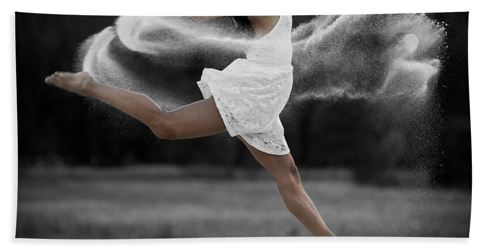 Dance Bath Sheet featuring the photograph Sand Dance by Marie-Dominique Verdier