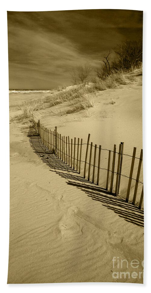 Sand Dunes Bath Sheet featuring the photograph Sand Dunes And Fence by Timothy Johnson
