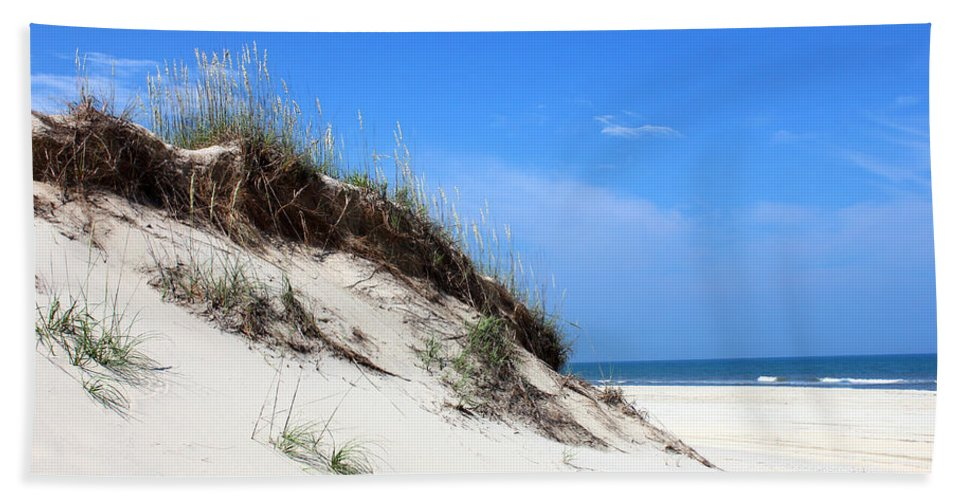 Sand Dunes Of Corolla Outer Banks Obx North Carolina Currituck Duck Ocean Sand View Vista Water Sky Remote Pristine Bath Sheet featuring the mixed media Sand Dunes Of Corolla Outer Banks Obx by Design Turnpike
