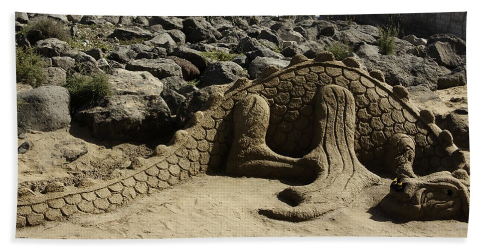 Sand Hand Towel featuring the photograph Sand Sculpture Dragon With Flaming Nostrils by Peter Lloyd