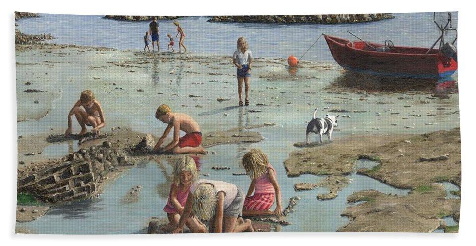 Landscape Bath Towel featuring the painting Sandcastles by Richard Harpum