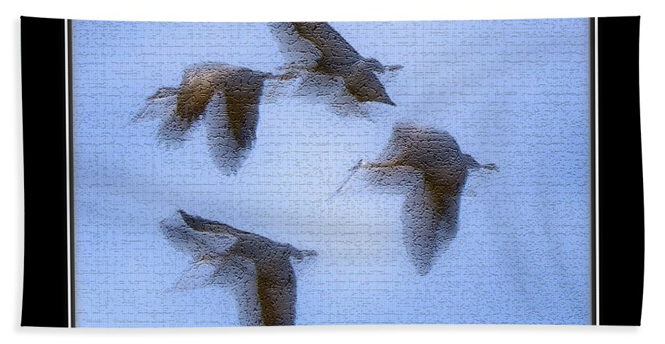 Bird Hand Towel featuring the photograph Sandhill Cranes In Flight by Larry White