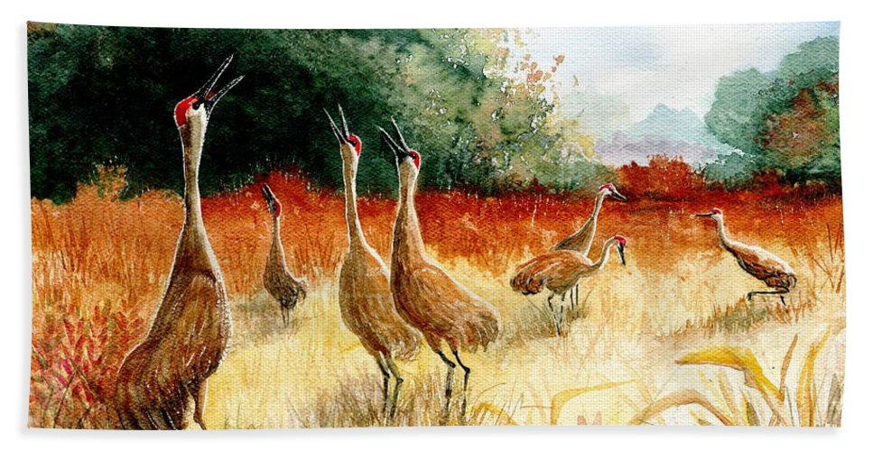 Sandhill Cranes Bath Sheet featuring the painting Sandhill Serenade by Marilyn Smith