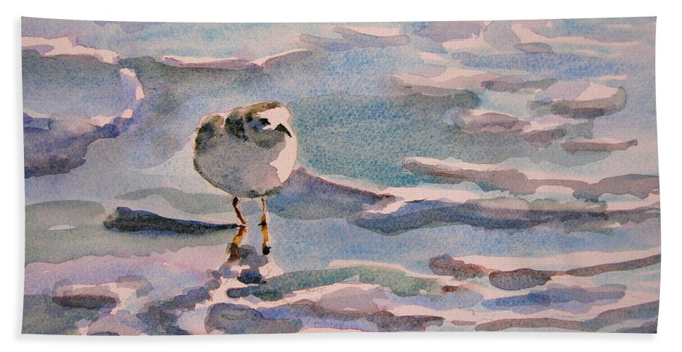 Art Bath Towel featuring the painting Sandpiper And Seafoam 3-8-15 by Julianne Felton