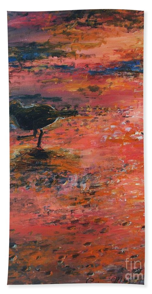 Beach Hand Towel featuring the painting Sandpiper Cape May by Eric Schiabor