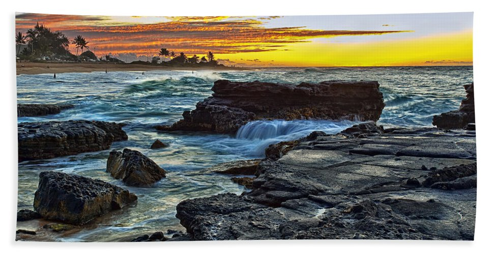Landscape Bath Sheet featuring the photograph Sandy Beach Sunrise by Marcia Colelli