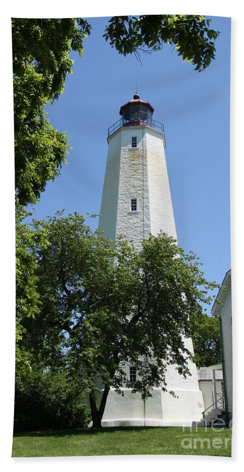 Lighthouse Hand Towel featuring the photograph Sandy Hook Lighthouse by Christiane Schulze Art And Photography