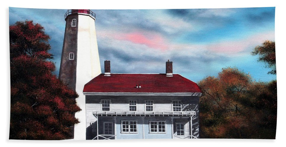 Lighthouse Hand Towel featuring the painting Sandy Hook Lighthouse by Daniel Carvalho