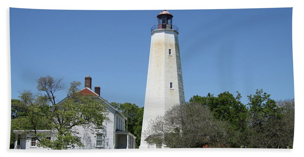 Lighthouse Hand Towel featuring the photograph Sandy Hook Lighthouse IIi - N J by Christiane Schulze Art And Photography