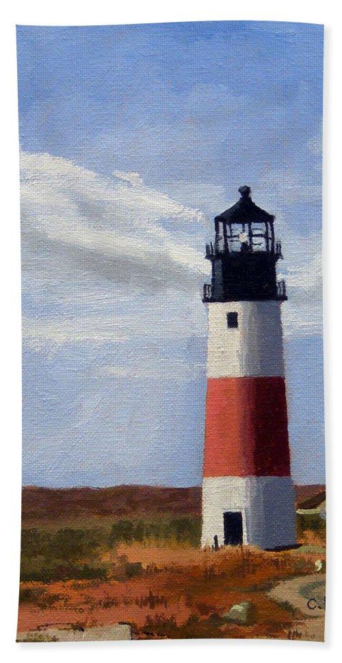 Christine Hopkins Hand Towel featuring the painting Sankaty Head Lighthouse Nantucket Massachusetts by Christine Hopkins