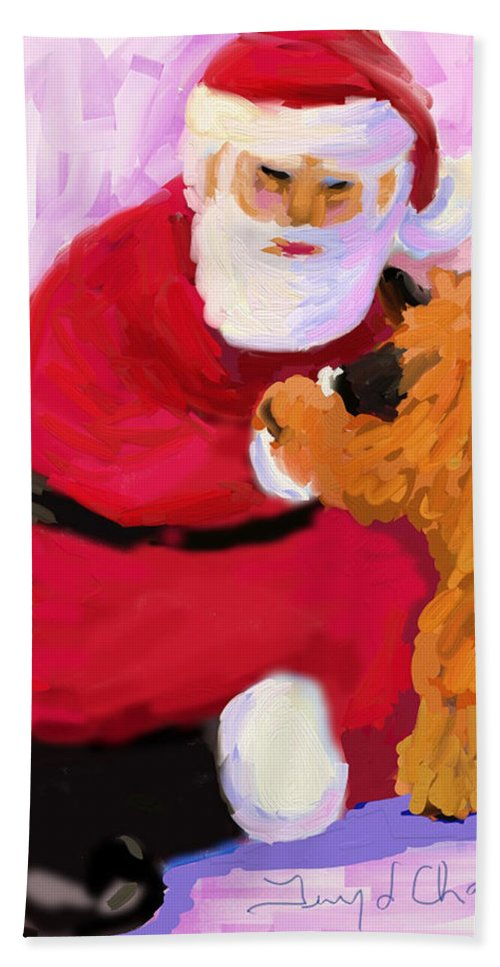 Santa Claus Hand Towel featuring the digital art Santa Baby by Terry Chacon