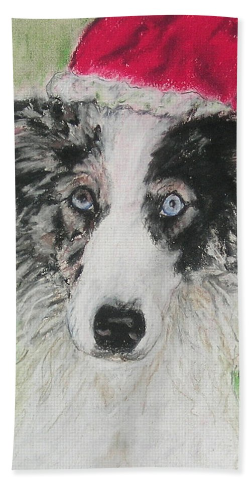 Border Collie Hand Towel featuring the drawing Santa Blues by Cori Solomon