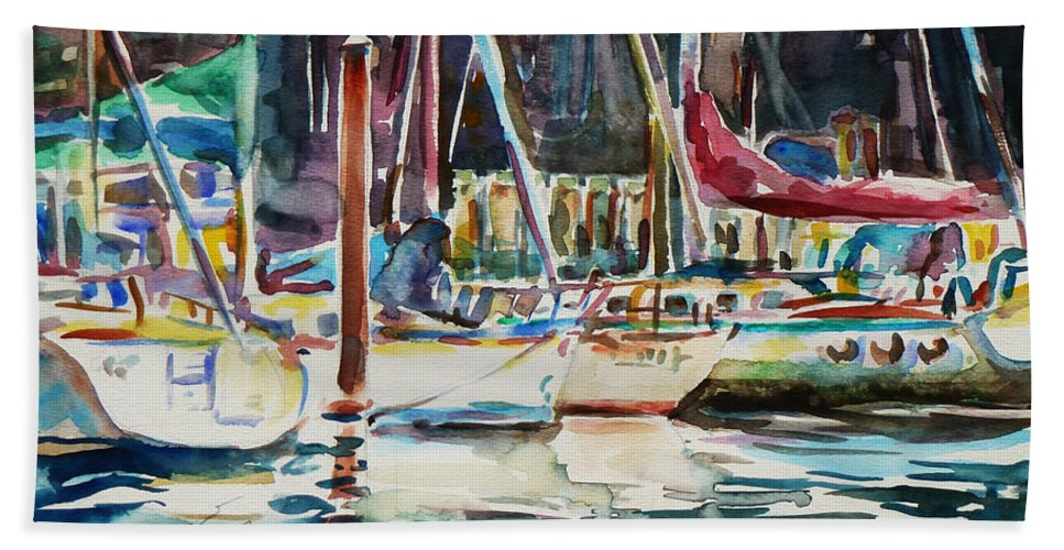 Watercolour Hand Towel featuring the painting Santa Cruz Dock by Xueling Zou
