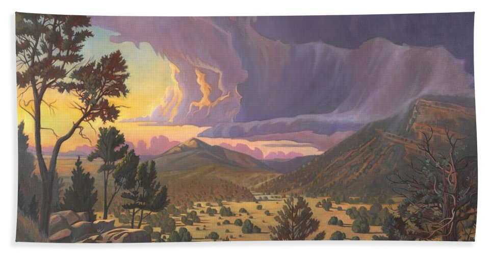 Santa Fe Bath Towel featuring the painting Santa Fe Baldy by Art West