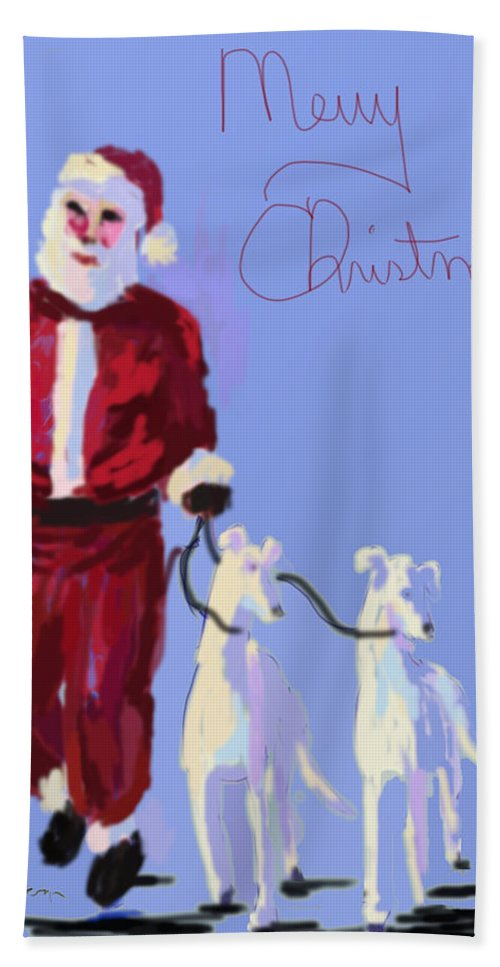 Greyhounds Hand Towel featuring the painting Santa Grey by Terry Chacon