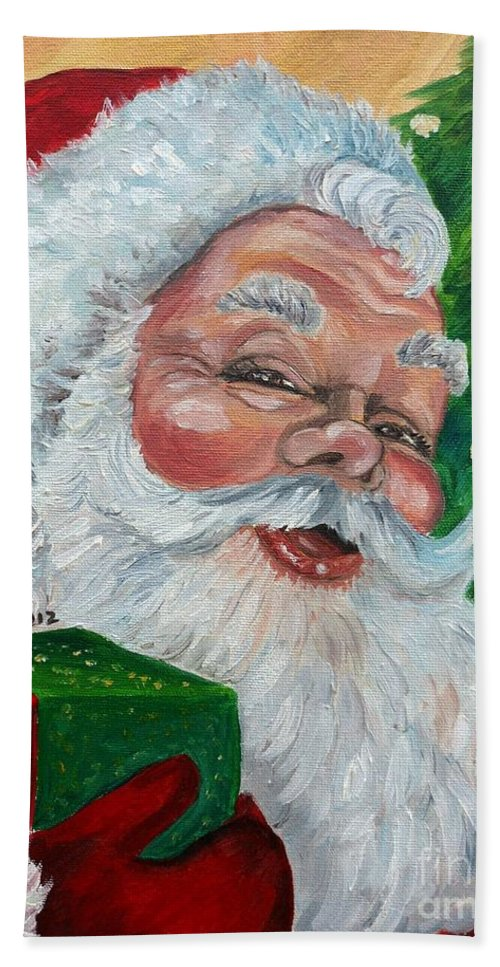 Santa Bath Sheet featuring the painting Santa by Julie Brugh Riffey