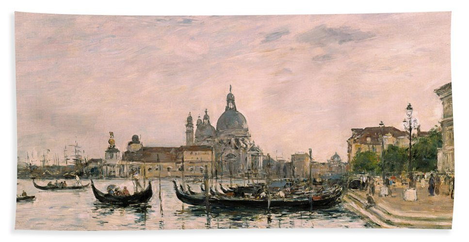 Venice Hand Towel featuring the painting Santa Maria Della Salute And The Dogana by Eugene Louis Boudin