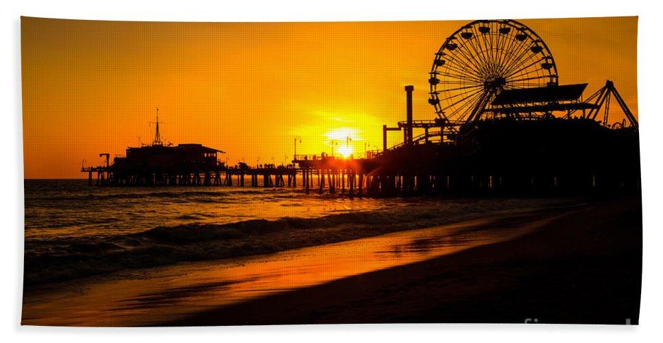 America Hand Towel featuring the photograph Santa Monica Pier California Sunset Photo by Paul Velgos