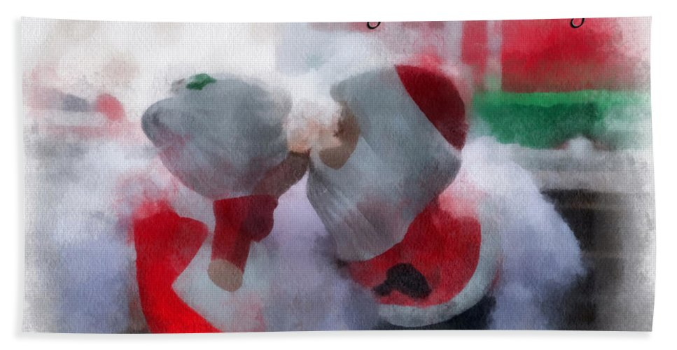 Christmas Bath Towel featuring the photograph Santa The Most Precious Photo Art by Thomas Woolworth