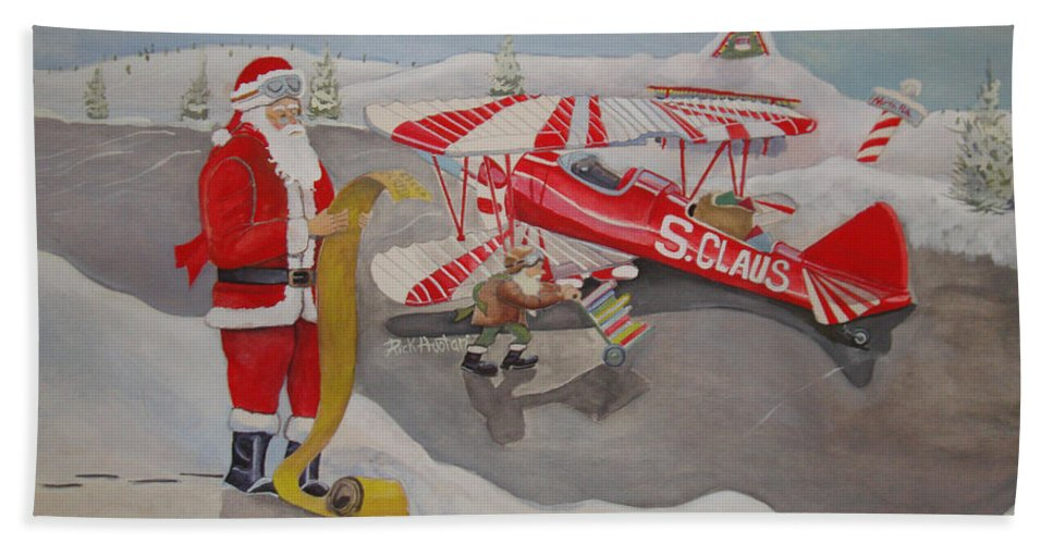 Rick Huotari Hand Towel featuring the painting Santa's Airport by Rick Huotari