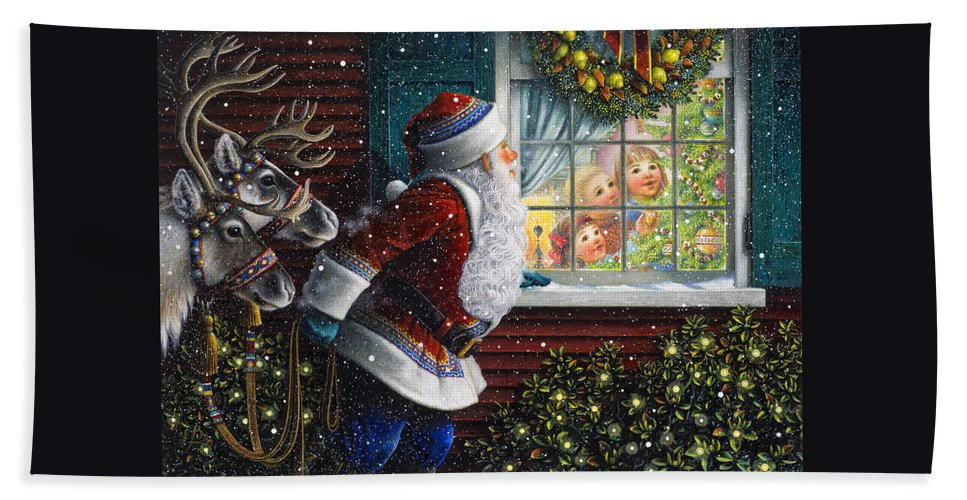 Santa Claus Hand Towel featuring the painting Santa's At The Window by Lynn Bywaters