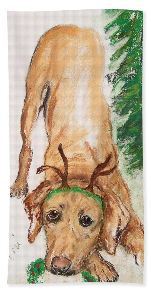 Labrador Hand Towel featuring the drawing Santa's Helper by Cori Solomon