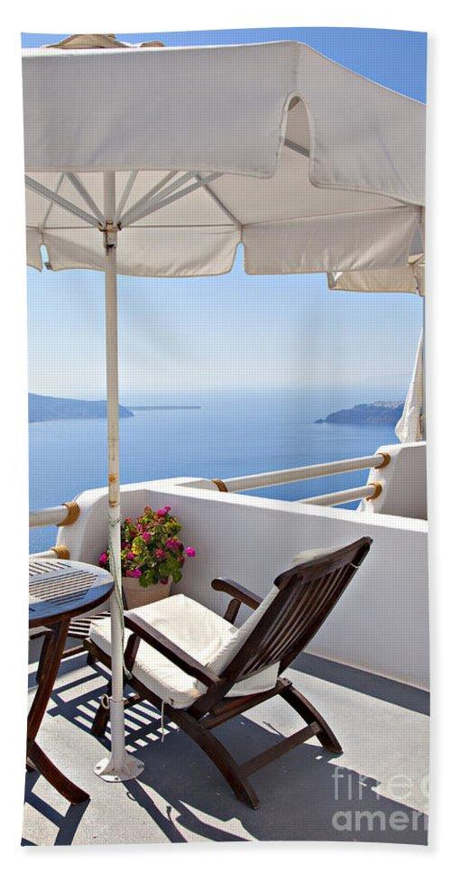 Aegean Hand Towel featuring the photograph Santorini Balcony by Sophie McAulay