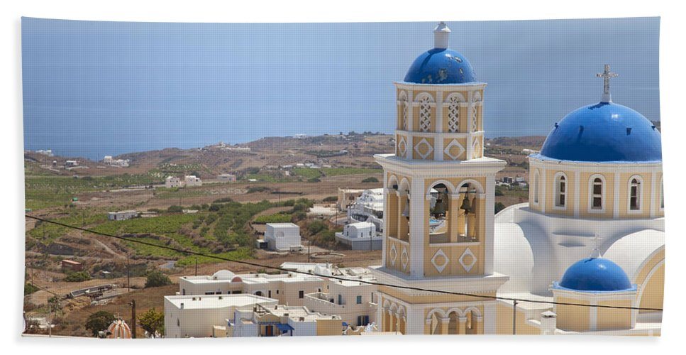 Fira Hand Towel featuring the photograph Santorini Church Overlooking The Sea by Sophie McAulay