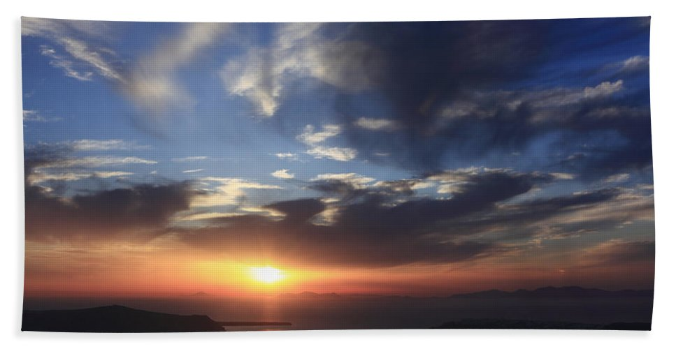 Aegean Bath Sheet featuring the photograph Santorini Sunset Cyclades Greece by Ivan Pendjakov