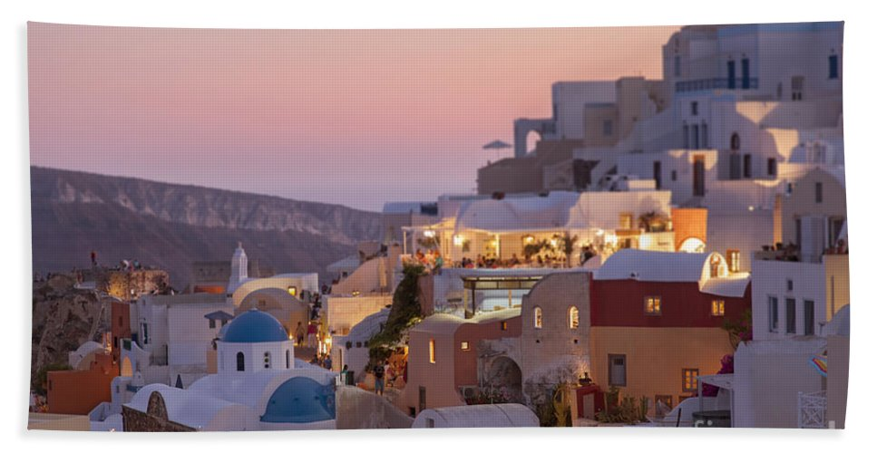 Island Hand Towel featuring the photograph Santorini Sunset by Sophie McAulay
