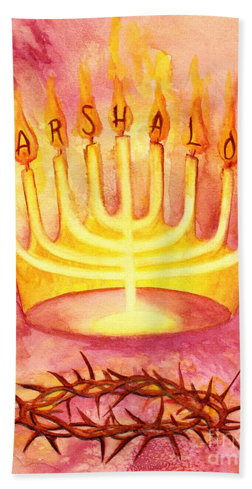 Sar Shalom Hand Towel featuring the painting Sar Shalom by Nancy Cupp