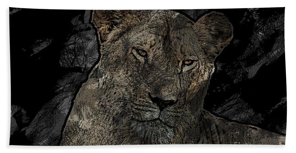 Lioness Bath Sheet featuring the photograph Sarafina V5 by Douglas Barnard